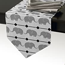 Cotton Linen Burlap Table Runner, Cute Elephant Patterns,White Gray, for Wedding Party Holiday Dinner Home Decor