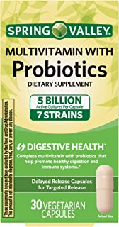 Spring Valley Multivitamin with Probiotics Dietary Supplement 5 Billion Active Cultures 7 Strains, 30 Vegetarian Capsules