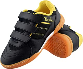 TIESTRA Sneakers Running Tennis Shoes for Boys&Girls School Indoor Soccer Shoes Youth Kids Athletic Grade Cool Gym Outdoor Sport Walking Turf Futsal Court Shoes