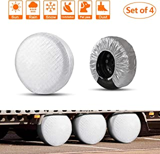 HEALiNK Rv Tire Covers Set of 4 for RV Wheel Waterproof Oxford Tires Protector Covers for Motorhome Truck Trailer Camper Auto (25'' for Tire Diameter 63cm, Tire Width 23cm)