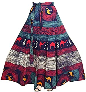 01cc568ec900 Kalpit Creations Women's Cotton Printed Wrap Around Skirt in Assorted  Design and prints in multicolours Free