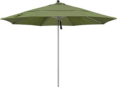 California Umbrella LUXY118-FD11-DWV 11' Round Stainless Steel Market Umbrella, Terrace Fern Olefin