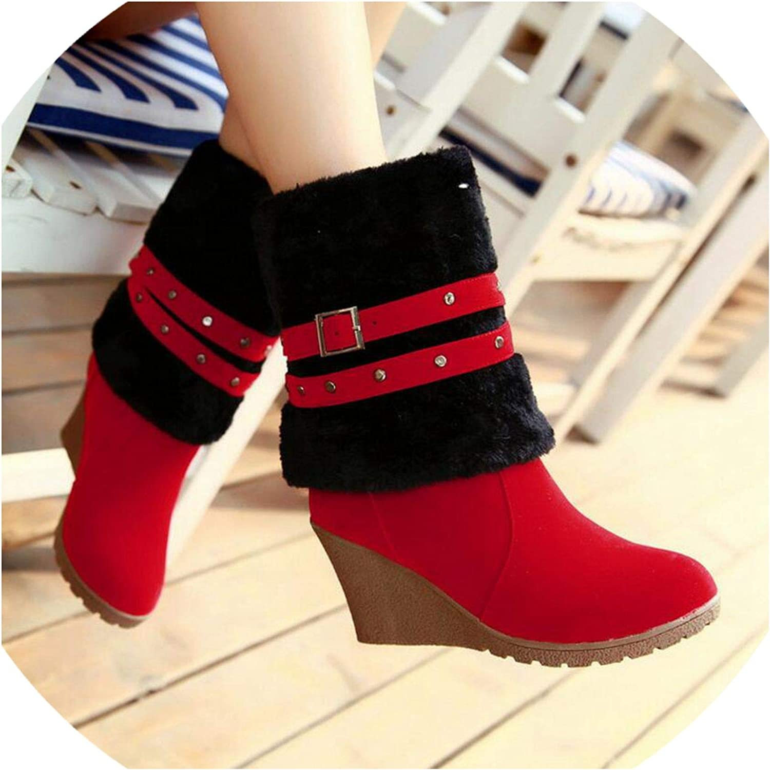 Fashion Frosted Suede Women Wedge Heels Long Boots High Boots