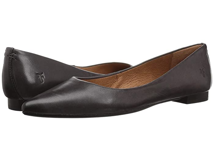 Frye  Sienna Ballet (Charcoal Polished Soft Full Grain) Womens Flat Shoes