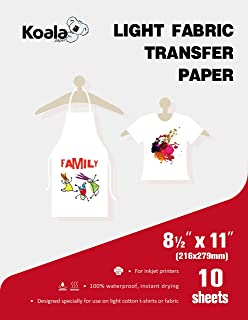 Koala Light T-shirt Transfer Paper for Light Color Fabric 8.5X11 Inches 10 Sheets Compatible with Inkjet Printer