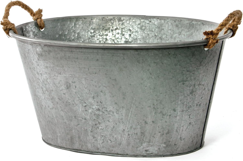Skalny Oval Galvanized Tin Tub, 25.5 x 17 x 12.75, Grey