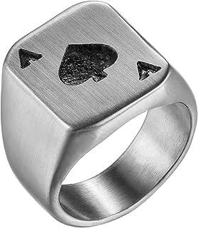 Flongo Anillo de Compromiso de Hombre Mujer, As de Picas Anillo de Sello Grande de Poker, Anillo Acero Inoxidable Retro Vi...