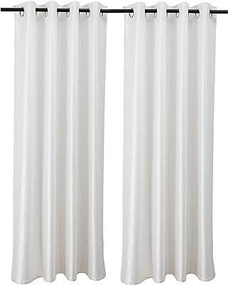 SAMMSARA Polyester Designer Darkening/Blackout Machine Washable Curtain -2 Piece (9 ft Long, Off-White)