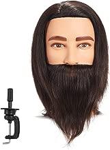 Traininghead 8-10'' Male Mannequin Head 100% Human Hair Hairdresser Salon Training Practice Head Manikin Cosmetology Doll Head With Clamp Stand (Black)