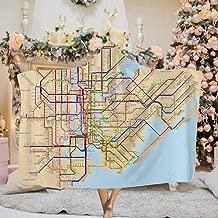 PLiPLi NYC Subway Map Hooded Blanket,3D Print Super Soft Blanket