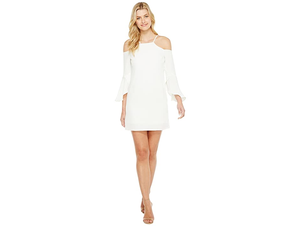 Laundry by Shelli Segal Crisscross Flutter Sleeve Cold Shoulder Cocktail Dress (Marshmallow) Women