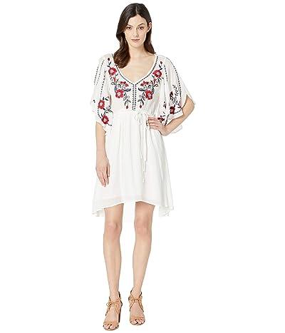 Stetson 2912 Rayon Textured Crepe V-Neck Dress (White) Women