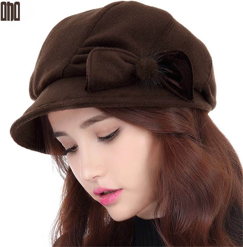 BTBTAV A Woman Painter face Lady Winter Day Beret Cap Significantly Thickened Female Children in Winter,M (56-58cm) Regulation of Sweat Band,Coffee