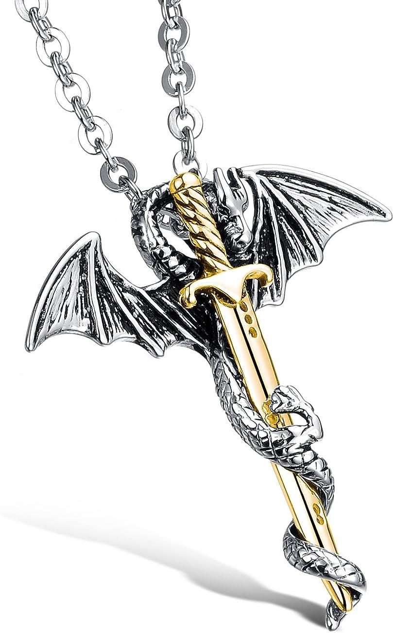 Hamoery Men Women Punk Stainless Steel Dragon Sword Wings Chain Pendant Necklace