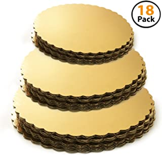 Set of 18 - Cake Board Rounds, Circle Cardboard Base, 6, 8 and 10-Inch. Perfect for Cake Decorating, 6 of Each Size Gold