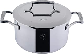 SAVEUR SELECTS Tri-ply Stainless Steel 4-Quart Casserole Pan with Lid, Induction-ready, Dishwasher Safe, Voyage Series