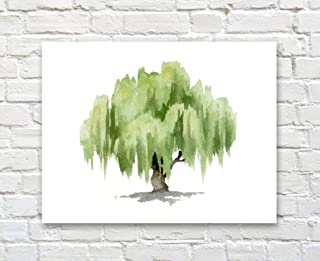 Willow Tree Watercolor Art Print by Artist DJ Rogers