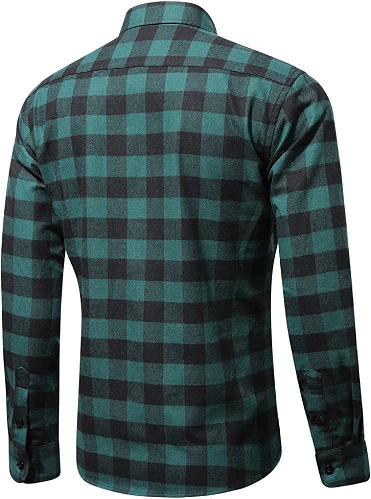 CATERTO Men's Button Down Long Sleeve Plaid Flannel Shirt