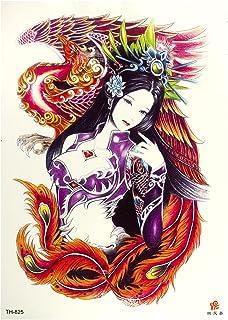 Frau XL TH825 Tattoo in kleurrijk - met fenis en veren - tijdelijke body tattoo - 1 x Chinese tatoeage