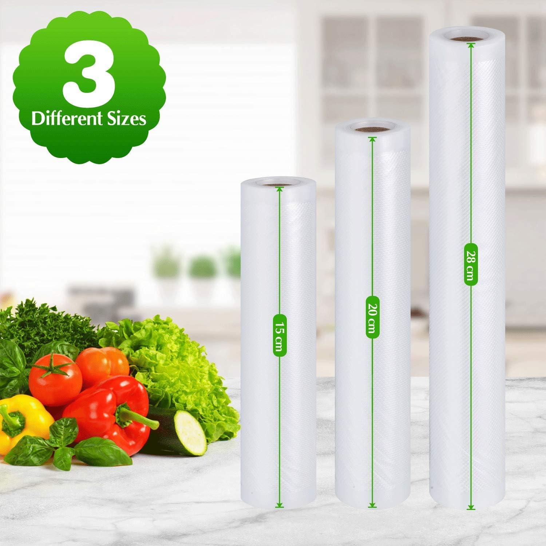 Vakuumbeutel f/ür Lebensmittel 2 Rollen /à 15,2 x 25,4 cm und 2 Rollen /à 20,3 x 25,4 cm und 2 Rollen /à 28,9 x 25,4 cm zum Vakuumieren von Lebensmitteln f/ür Mikrowellen und Gefrierschrank