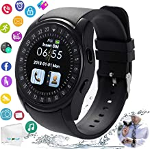 TOPEPOP Smart Watch Bluetooth Smartwatch Touch Screen Unlocked Wrist Watch with Sim Card Slot Pedometer Fitness Tracker Sync Call SMS Compatible with Android iOS Cell Phones Men Women Kids Boys Black