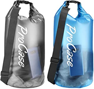 ProCase 2 Pack Floating Waterproof Dry Bag Clear 20Liter, Roll Top Lightweight Waterproof Gear Sack Backpack for Kayaking ...