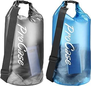 ProCase (2 Pack Floating Waterproof Dry Bag Clear 20Liter, Roll Top Lightweight Waterproof Gear Sack Backpack for Kayaking, Boating, Fishing, Rafting, Hiking, Swimming, Travel, Camping, Beach