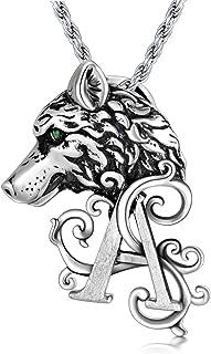 PDTJMTG قلادة الذئب 925 مجوهرات الفايكينج للرجال من الفضة الاسترلينية 50.8 سم + 5.08 سم