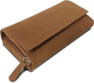 Cartera de Piel para Mujer Bolsillo Grande con Muchos Compartimentos Billetera RFID-Blocker Monedero Formato apaisado, Color:Sonora marrón
