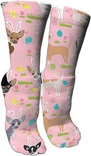 靴下 抗菌防臭 ソックス イースターエッグチワワ犬スポーツスポーツソックス、旅行&フライトソックス、塗装アートファニーソックス30センチメートル長い靴下