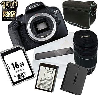 1A PHOTO PORST Aniversario Oferta Canon EOS 2000D + Lente Canon + SD 16GB Tarjeta de Memoria + Bolsillo + Pantalla Película Protectora + Batería de Reemplazo + Tela de Microfibra