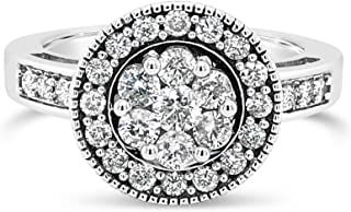 10K White Gold 3/4 Ct Champagne Diamond Halo Ring For Women. Birthstone Of April. Size 7