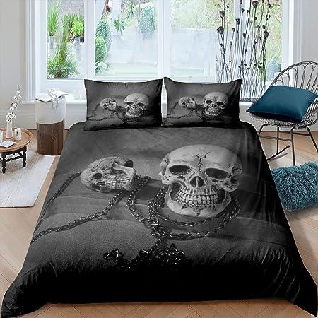 Soft Duvet Insert Gothic Fog Smoke Skull Skeleton Quilted Duvet Halloween Down Comforter Erosebridal Skull Comforter Set Queen Grey Bedding Comforters for Young Man Boy Teens Room Decorative