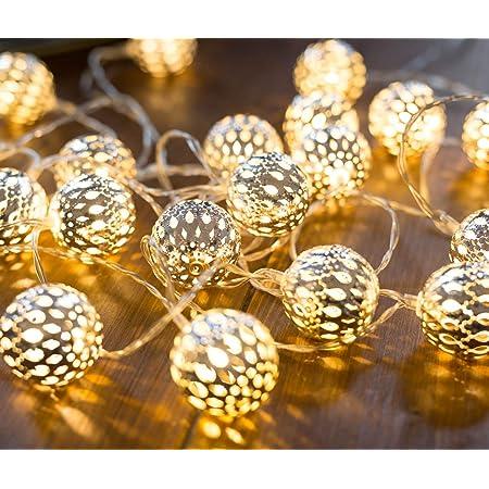 Guirlande lumineuse marocaine LED CozyHome – Longueur totale 7M | 20 LED blanc chaud | Deco cocooning | Boules argentées style oriental marocain – Pas de changement de piles