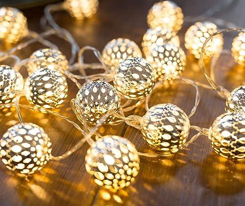 Guirlande lumineuse marocaine LED CozyHome – Longueur totale 7M | 20 LED blanc chaud | Deco cocooning | Boules argent...