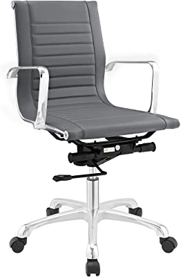 Plutus Brands MF1525 Mid Back Office Chair, Gray