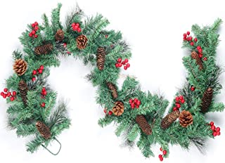 hebe 6ft Christmas Garland Decorations Christmas Garlands with Red Berries and Pine Cones Artificial Vine Garland for Christmas Fireplace Mantle Stairs Front Door Indoor Outdoor