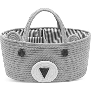 Conthfut Diaper Caddy Organizer 100% Cotton Rope Nursery Storage Bin for Boys and Girls Large Tote Bag & Car Organizer with Removable Inserts Baby Shower Gift Basket
