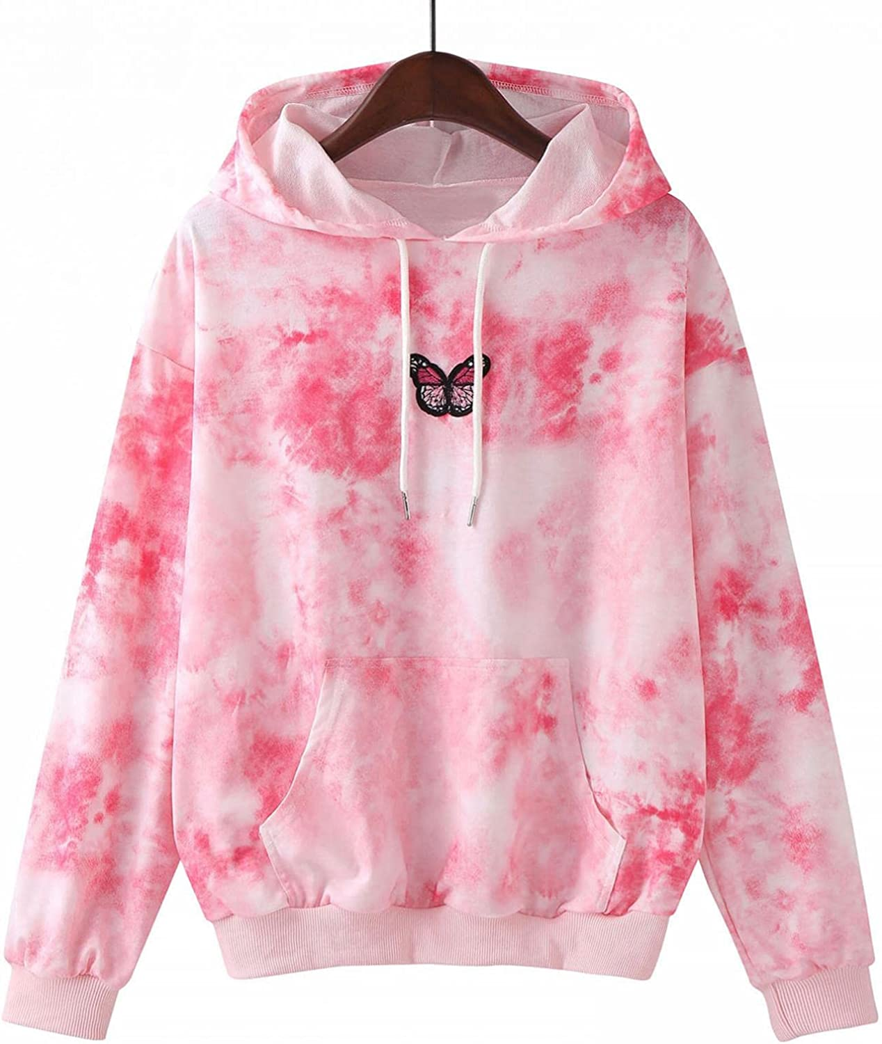 Hoodies for Women,Women's Fashion Hoodies & Sweatshirts Plus Size Butterfly Graphic Long Sleeve Drawstring Pullover