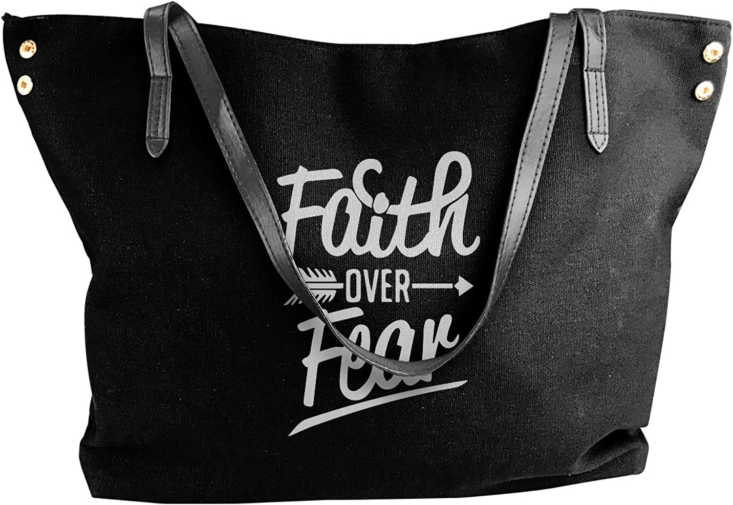 Faith Over Fear Women'S Leisure Canvas Shoulder Bag For School Big Shopping Bag