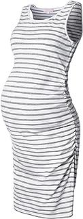 Maternity Tank Dress Ruched Sleeveless Mama Dress Pregnancy Baby Shower Dress