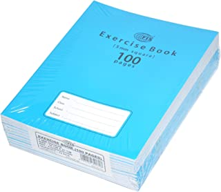 FIS Exercise Books 5 mm Square with Left Margin, 100 Pages, Pack of 12 Pieces, 16.5 x 21 cm Size - FSEBSQ05100N