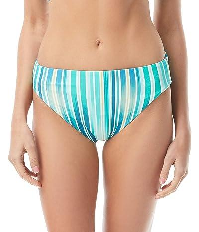 Vince Camuto Mediterranean Sea Stripe Reversible High Leg Bikini Bottoms (Azure) Women