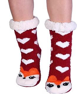 Women's Fuzzy Slipper Socks With Grippers Warm Cozy Cute Animal Gifts