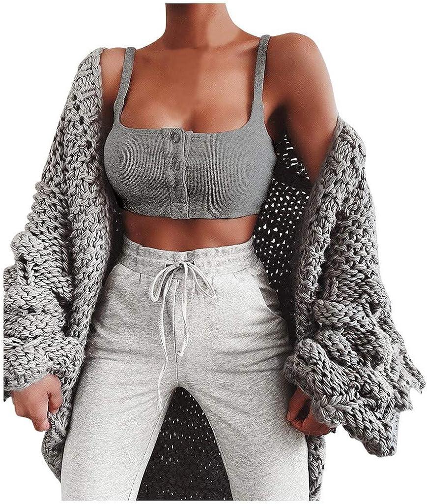 Womens Tank Tops Button Fashion Short Vest Fashion Vest Camisole Shirts Sexy Sleeveless Top Streetwear