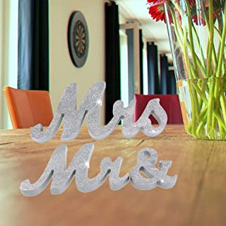 HAOLIVE Vintage Style Mr and Mrs Sign Mr & Mrs Wooden Letters Wedding Sign with Silver Glitter for Christmas Decorations,Wedding Table,Photo Props,Party Table,Top Dinner Decoration(Glitter Silver)