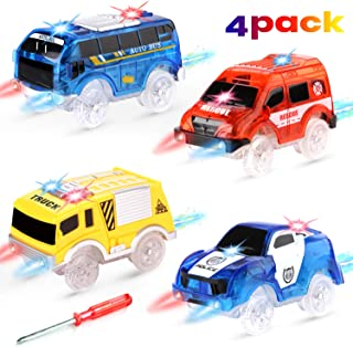 RACPNEL Track Cars Compatible with Most Tracks Light Up Replacement Car Toys, Glow in The Dark Race Car Tracks Accessories with 5 Flashing LED Lights, Best Gift for Boys and Girls ( 4 Pack )