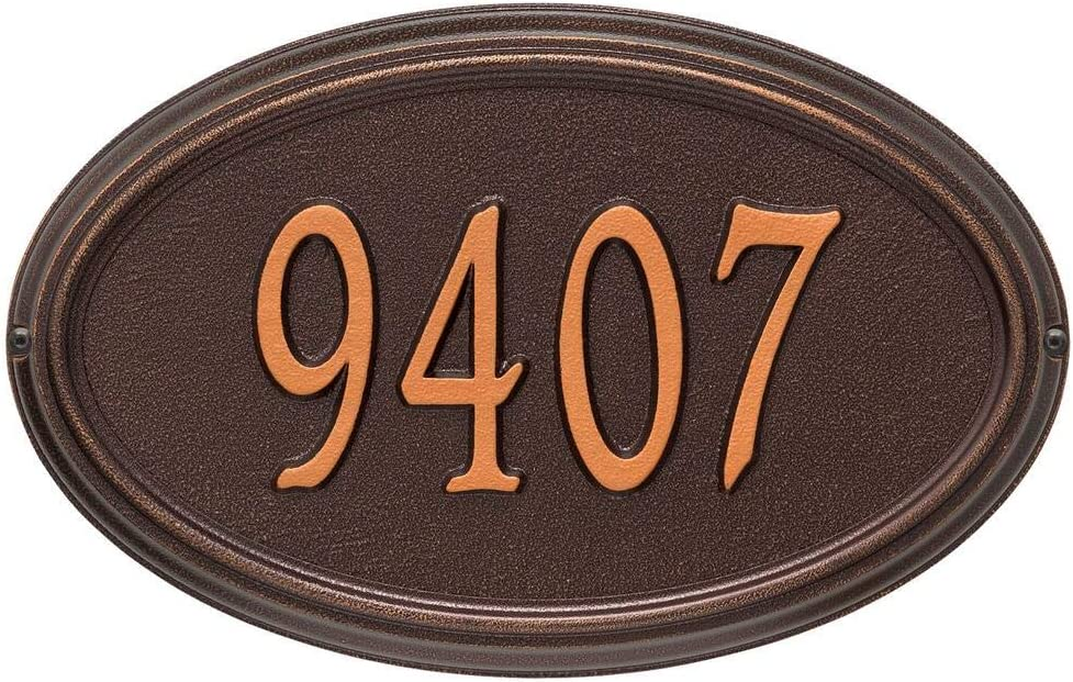 Whitehall 1298ac Personalized Concord Oval Plaque Standard Wall 1 Line In Antique Copper 15x9 5x1 25 Outdoor Décor Kolenik Address Signs