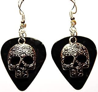 Sugar Skull Charm on Guitar Pick Earrings