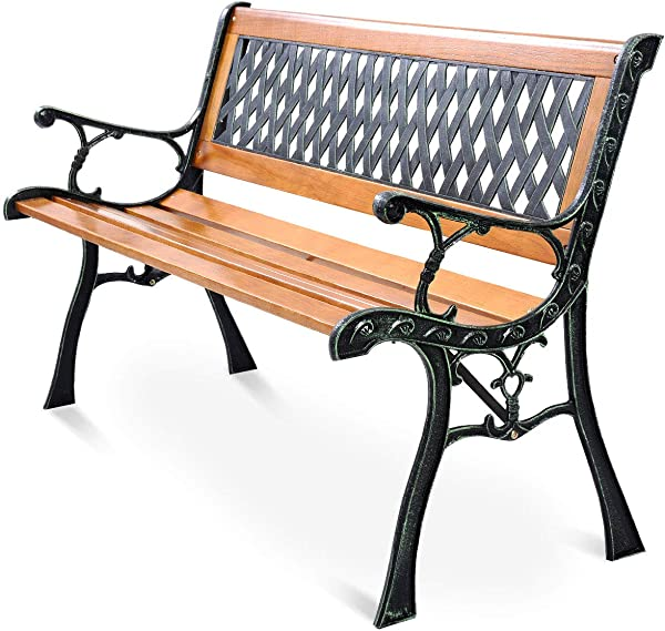 Giantex 50 Patio Bench Outdoor Furniture Cast Iron Hardwood Frame Porch Loveseat Weather Proof Porch Path Chair For 2 Person
